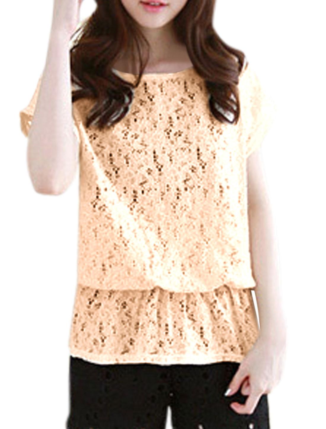 Lady Slipover Short Sleeve Flower Design Leisure Top Beige S
