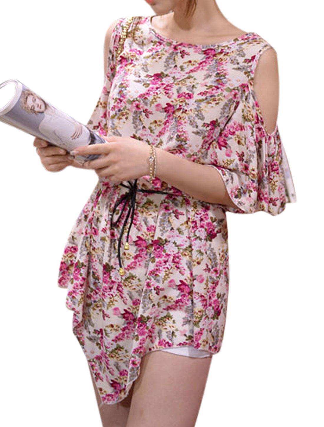 Women Cut Out Shoulder Floral Pattern Tunic Top w Waist String Multicolor S