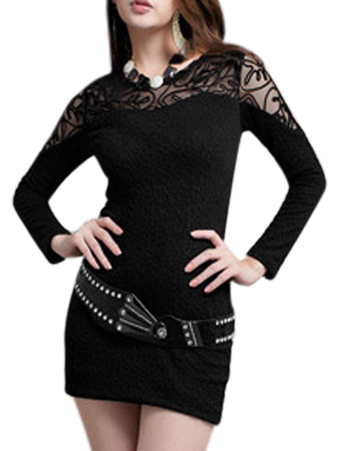 Lady Mesh Panel Semi Sheer Long Sleeve Sexy Stretch Dress Black M