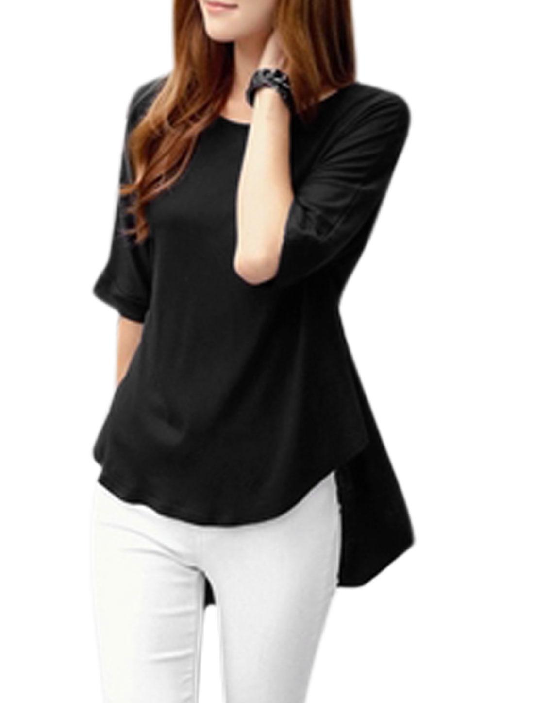 Women Round Neck Short Sleeve Asymmetric Hem Casual Top Black M