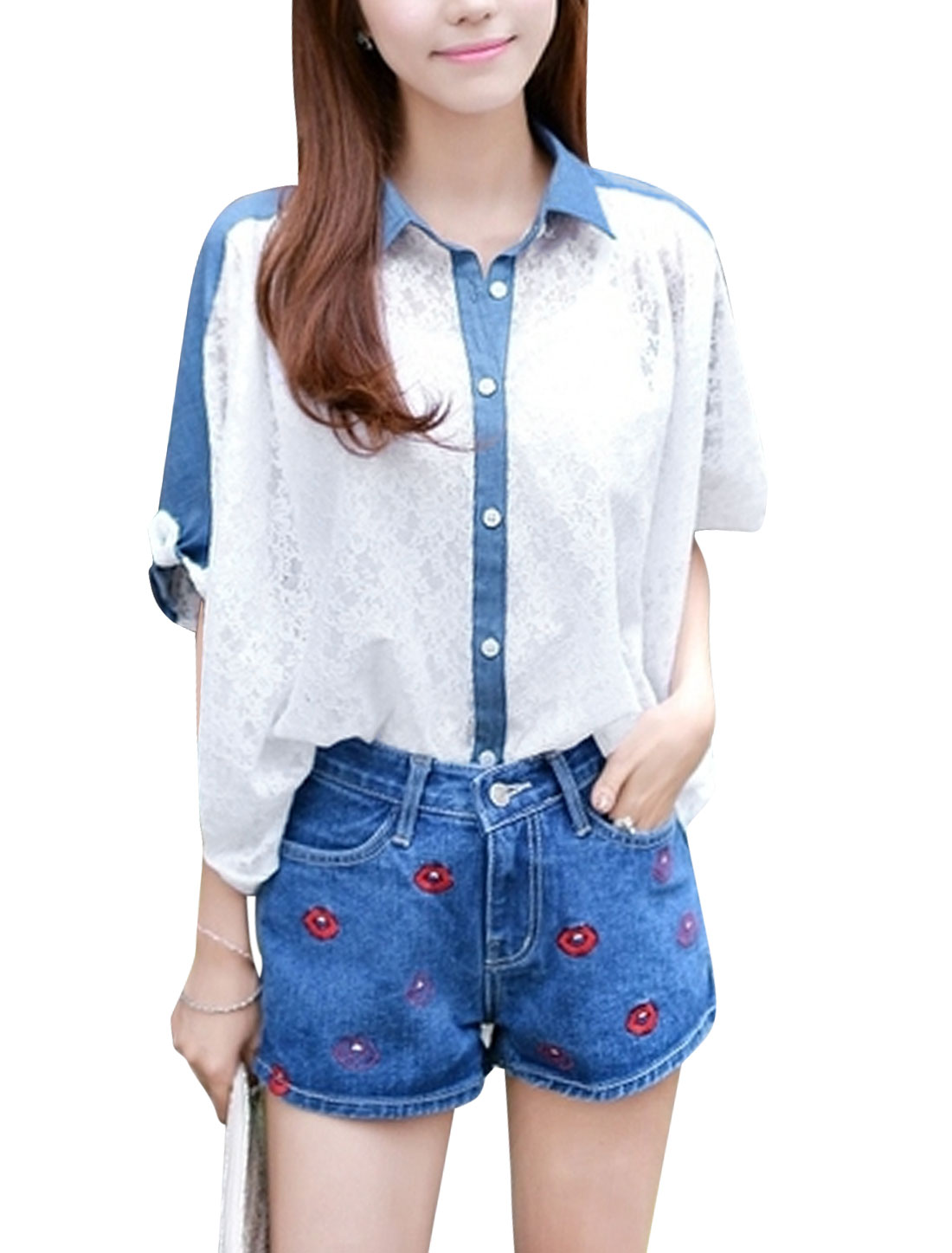 Women Single Breasted Denim Panel Half Sleeve Semi Sheer Top White S