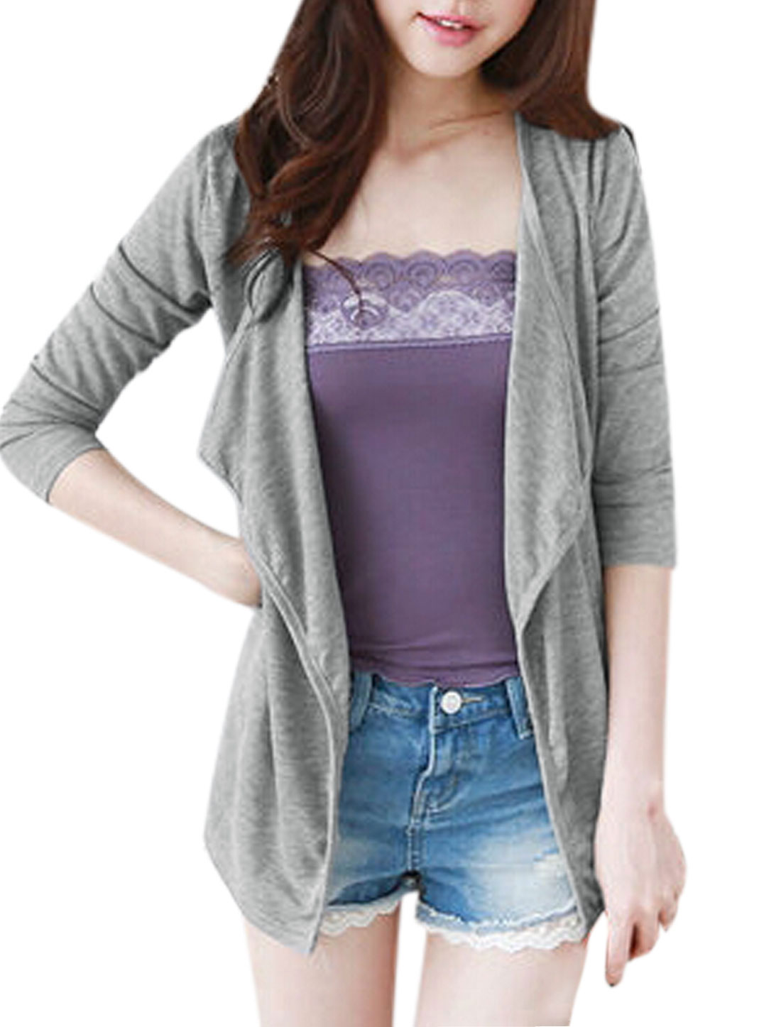 Women Long Sleeve Front Opening Casual Fit Cardigan Light Gray XS