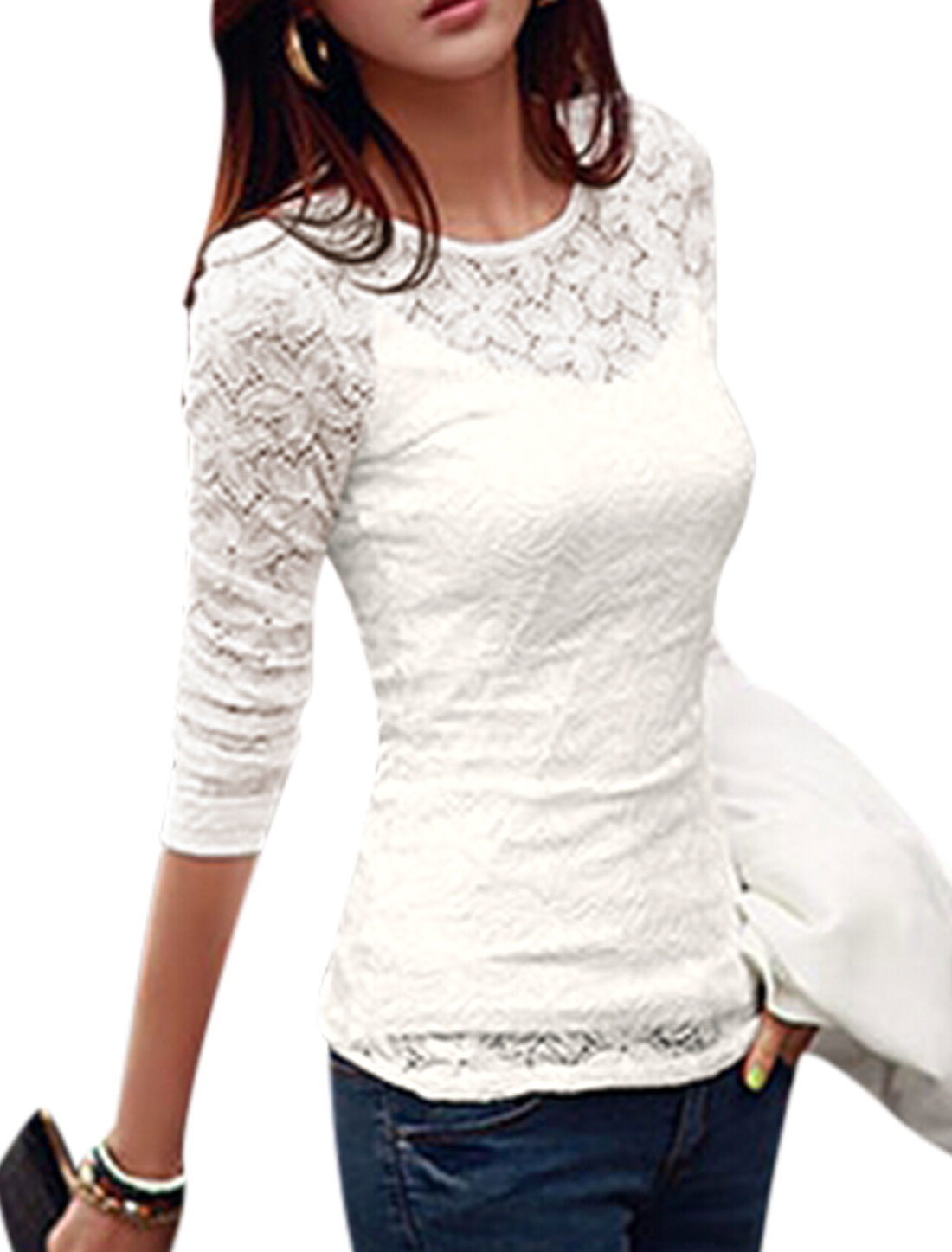Lady Hollow Out Pullover Slim Top w Casual Cami White S