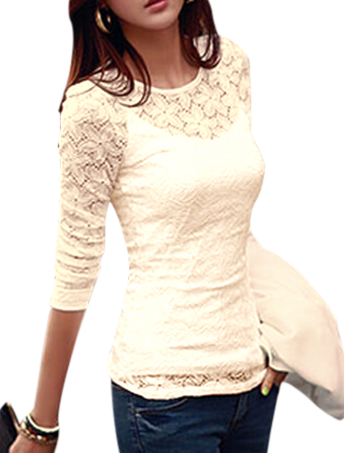 Women Slipover Flower Design Fitting Top w Leisure Cami Beige S