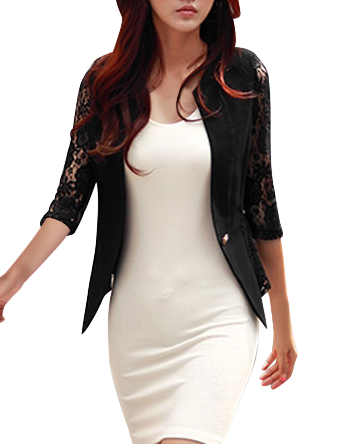 Lady Lace Panel Hollow Out Single Button Closure Casual Blazer Black M