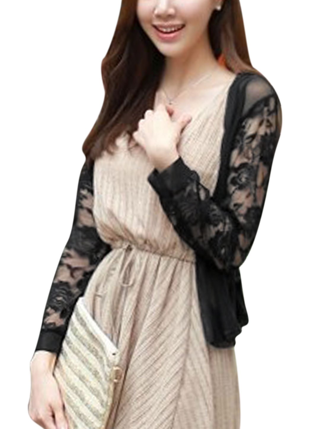 Women Front Opening Flower Design Elastic Waist Back Cardigan Black S