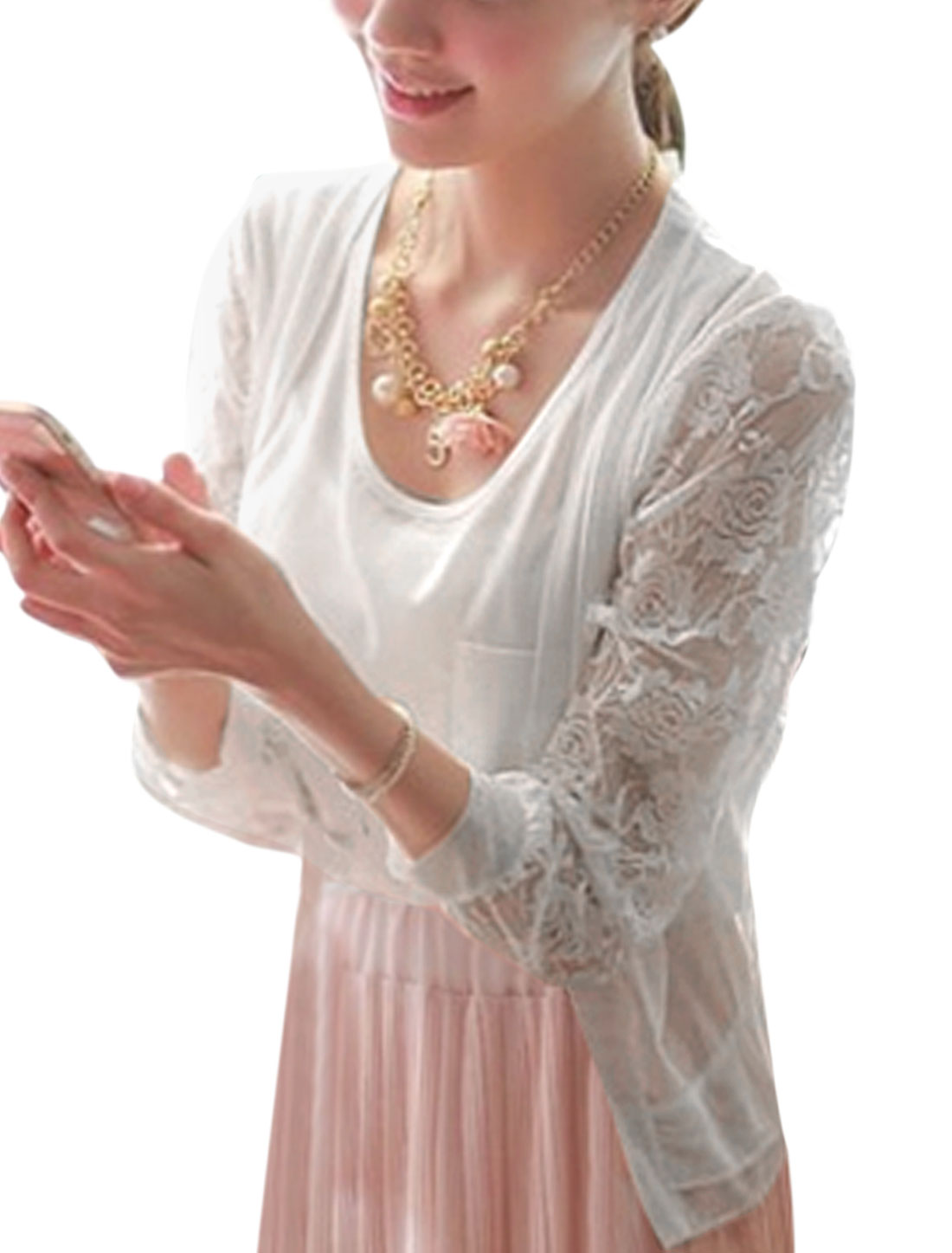 Lady Open Front Ruffles Hem Semi Sheer Leisure Cardigan White S