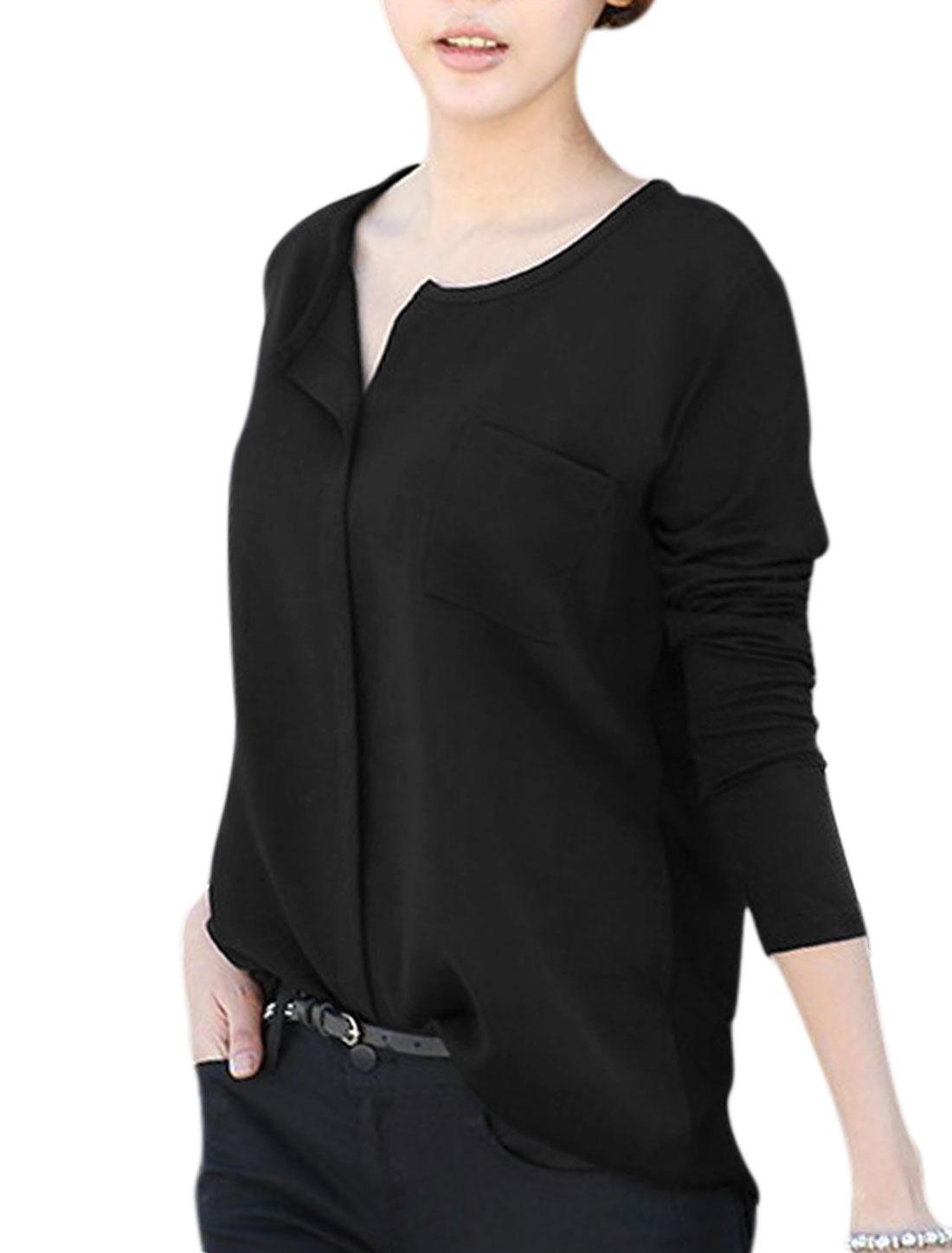 Women Split Neck Long Sleeve Single Bust Pocket Casual Top Black S