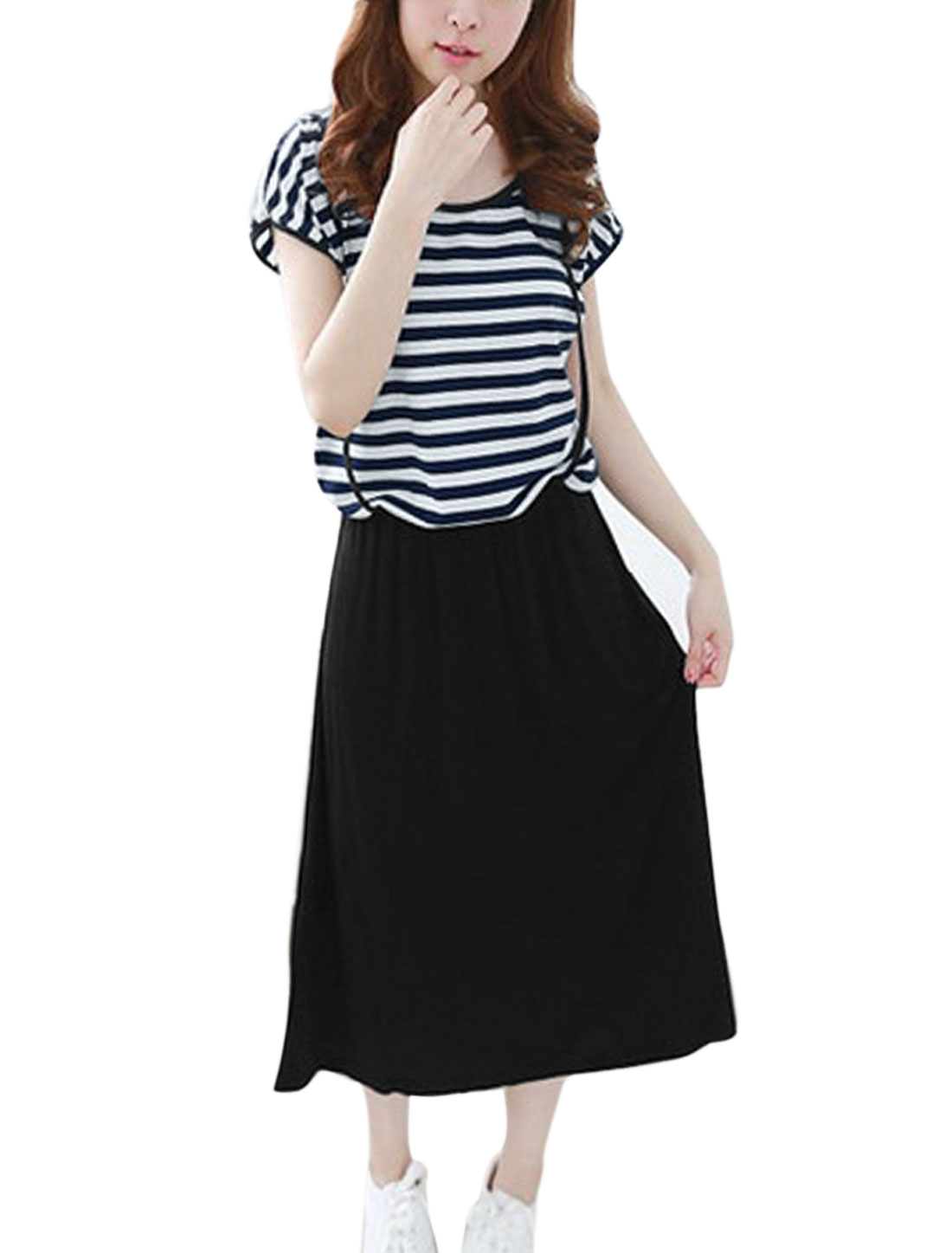 Women Elastic Waist Cross Straps Decor Straight Dress Navy Blue Black S