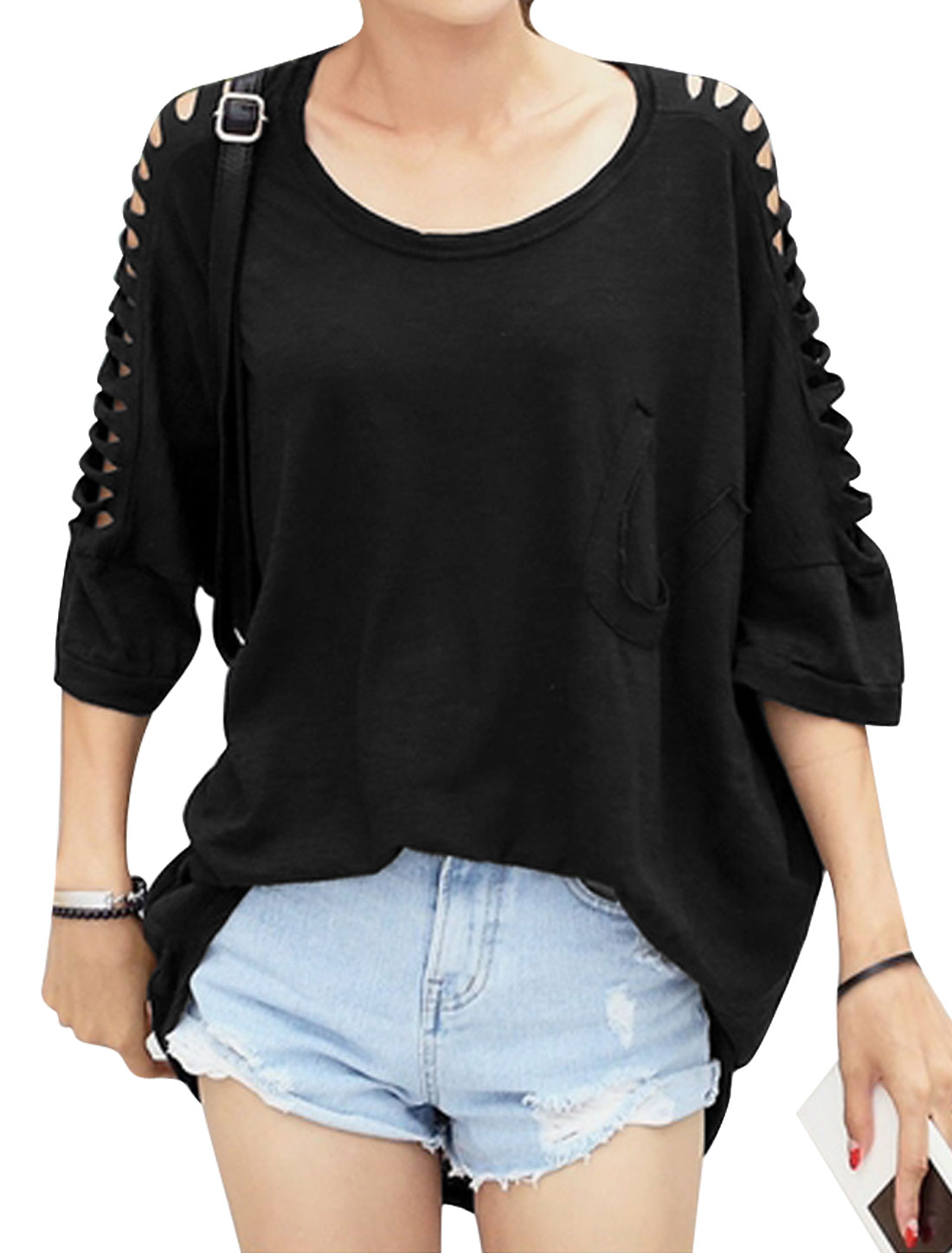 Lady 3/4 Batwing Sleeve Cut Out Design Irregular Hem Loose Top Black S
