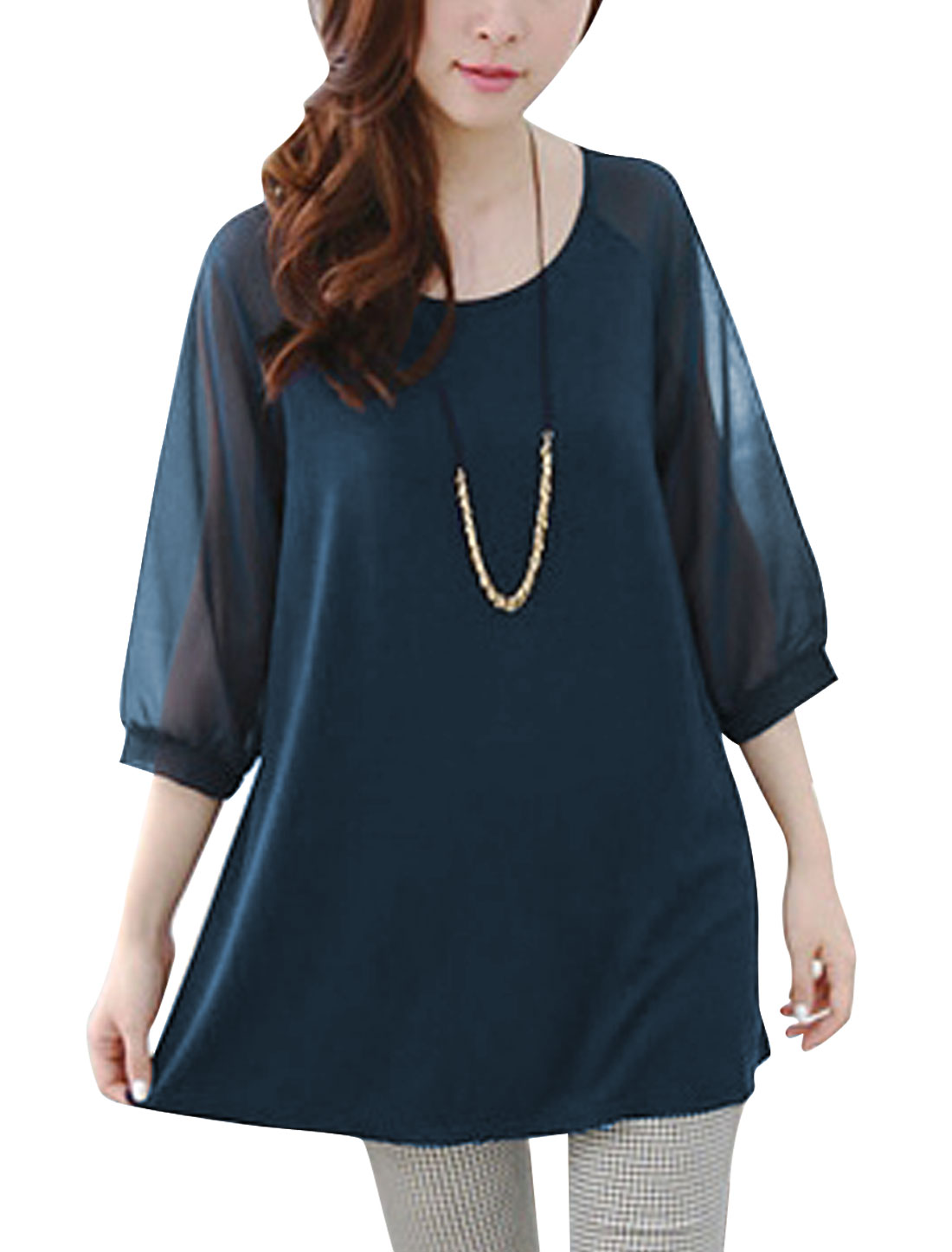 Women 3/4 Sleeve Chiffon Panel Round Neck Top Navy Blue S