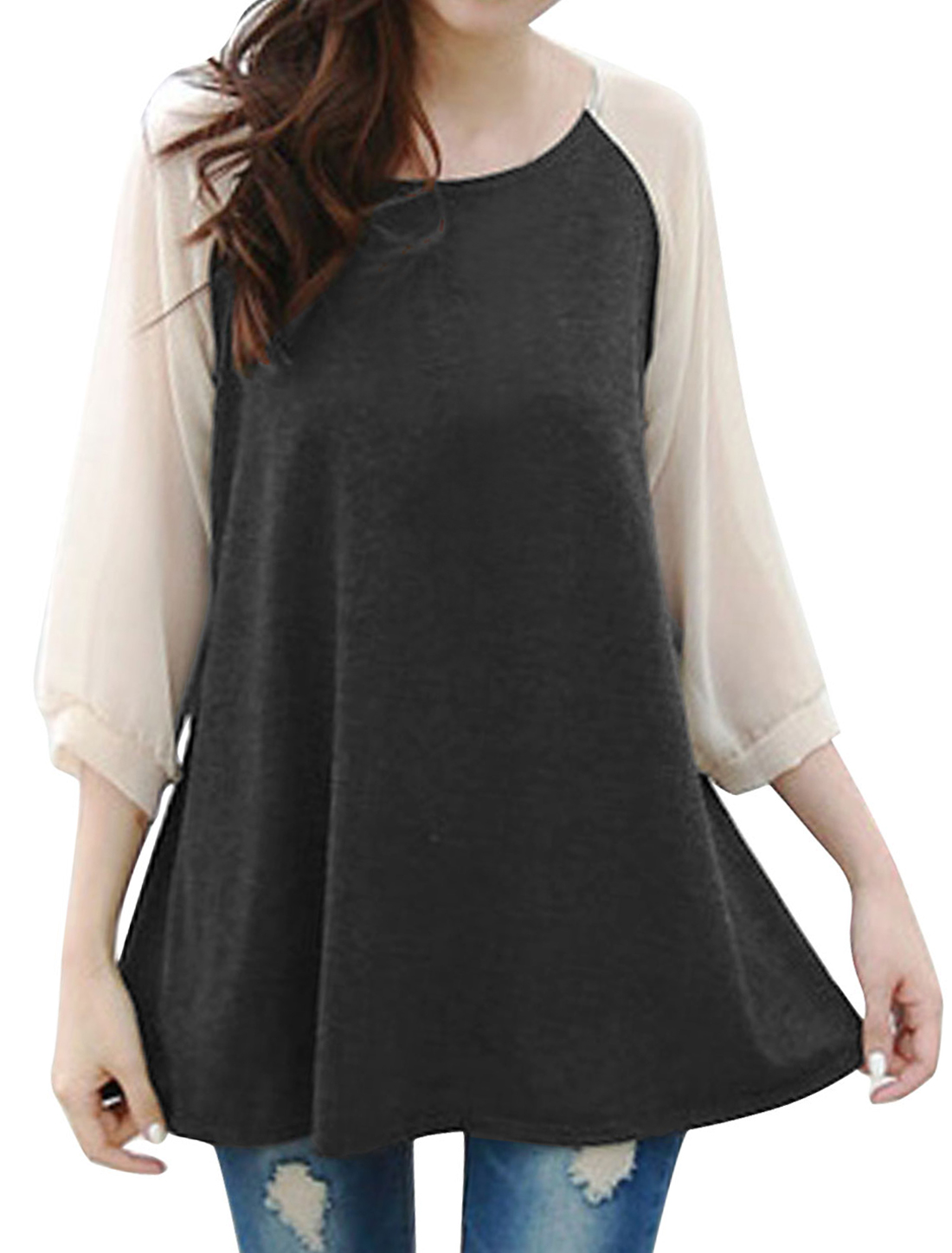 Lady Pullover Chiffon Panel Raglan Sleeve Top Dark Gray S