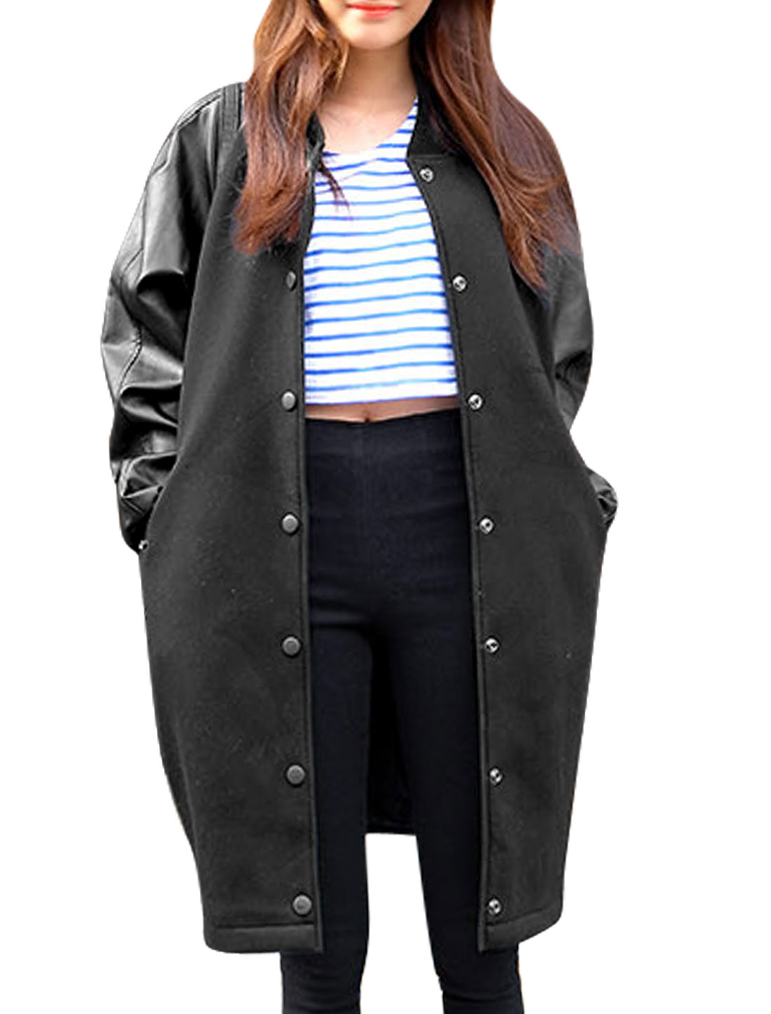 Lady Single Breasted Imitation Leather Panel Trench Jacket Black S