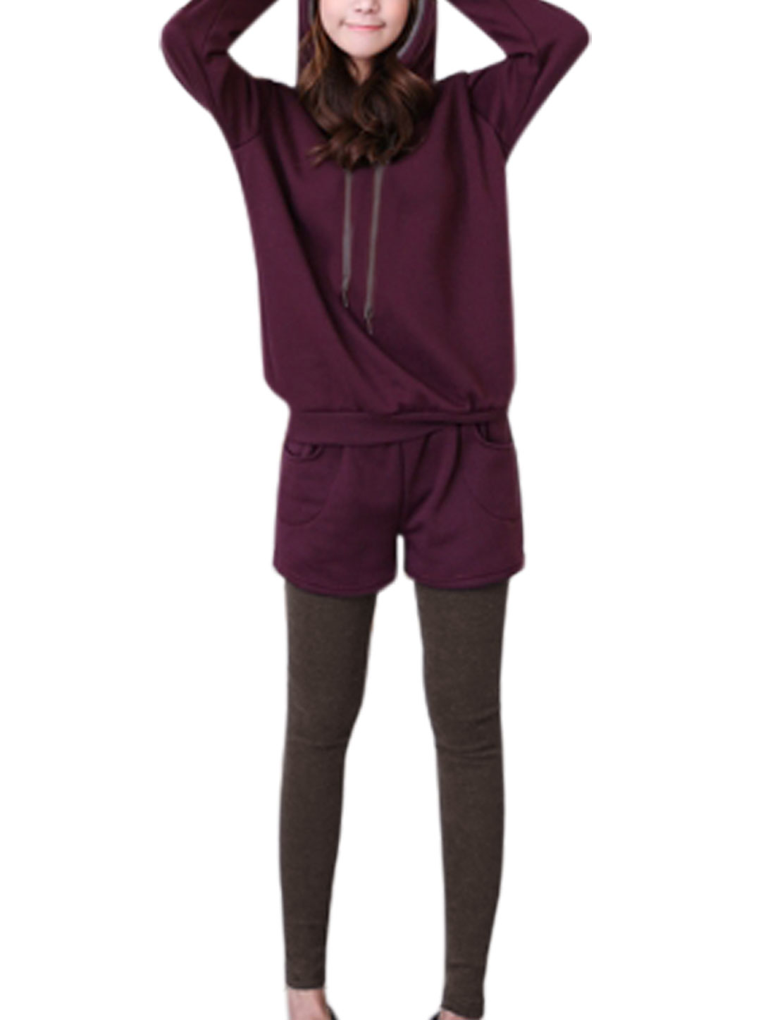 Lady Slipover Hoodie w Stretchy Waist Shorts Set Dark Purple Coffee S