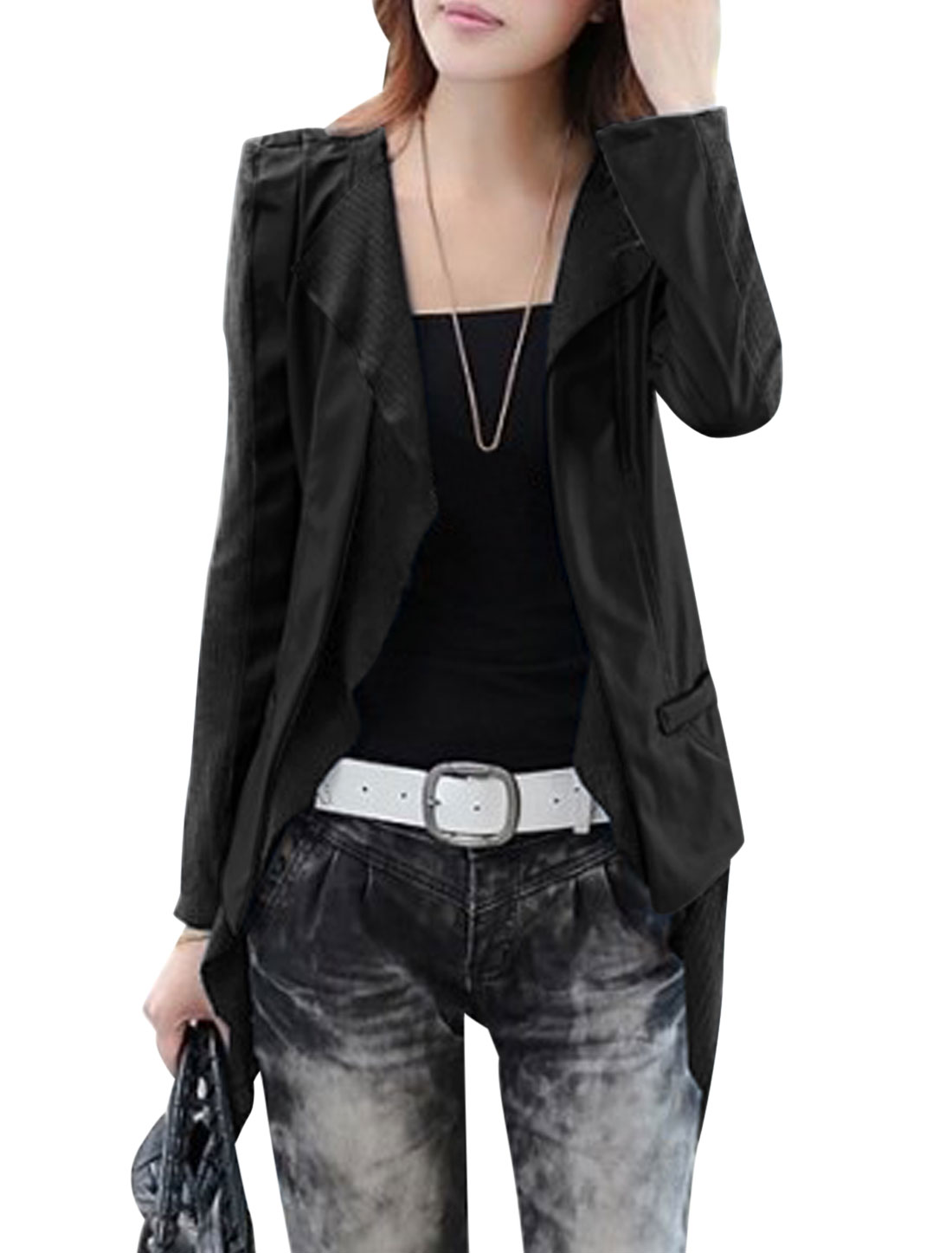 Lady Fake Two Pieces Panel Design Imitation Leather Jacket Black S
