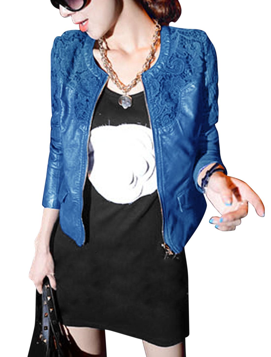 Lady Zip Up Crochet Panel Casual Imitation Leather Jacket Royal Blue M