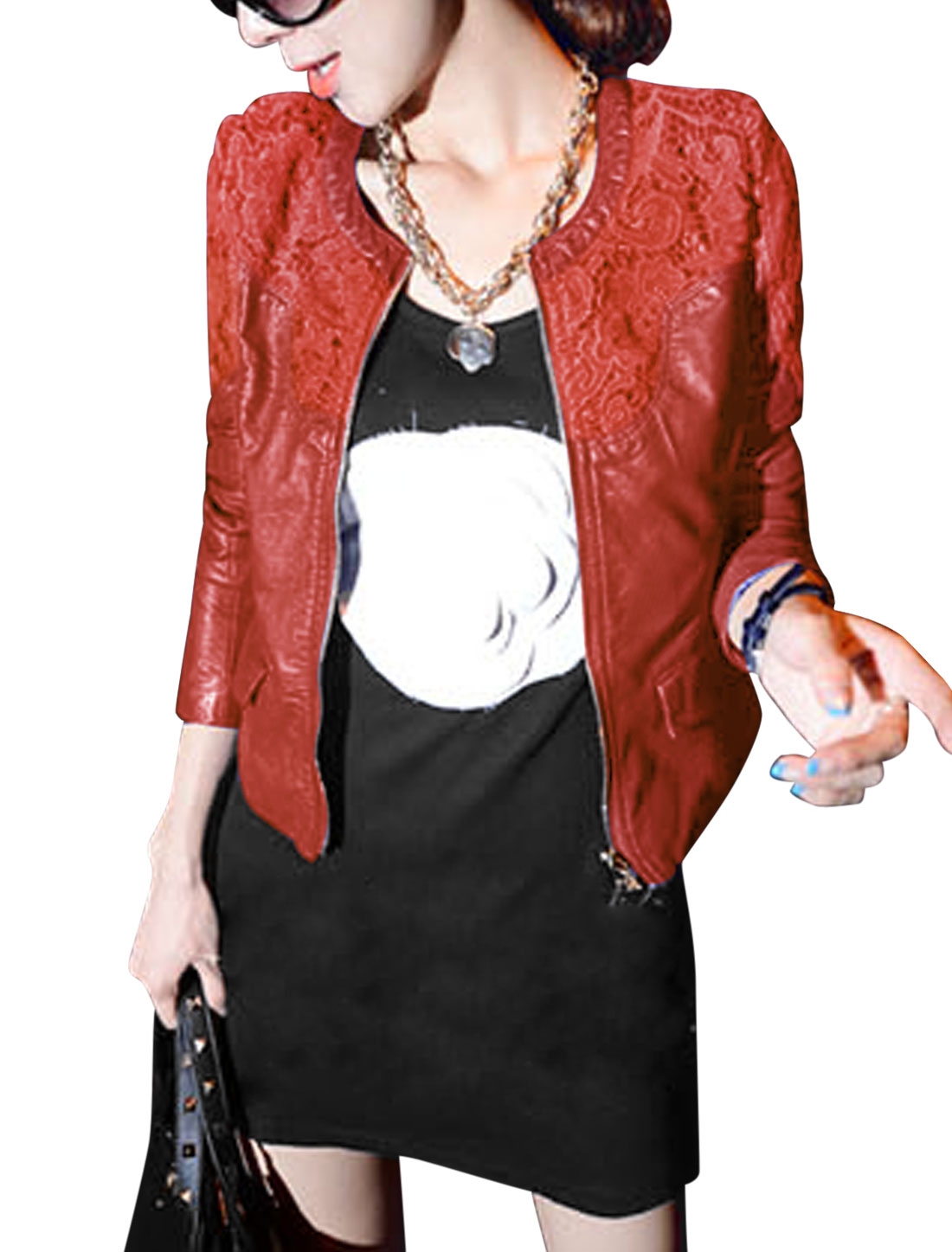 Lady Round Neck Double Flap Pocket Front Cozy Fit Imitation Leather Jacket Red M