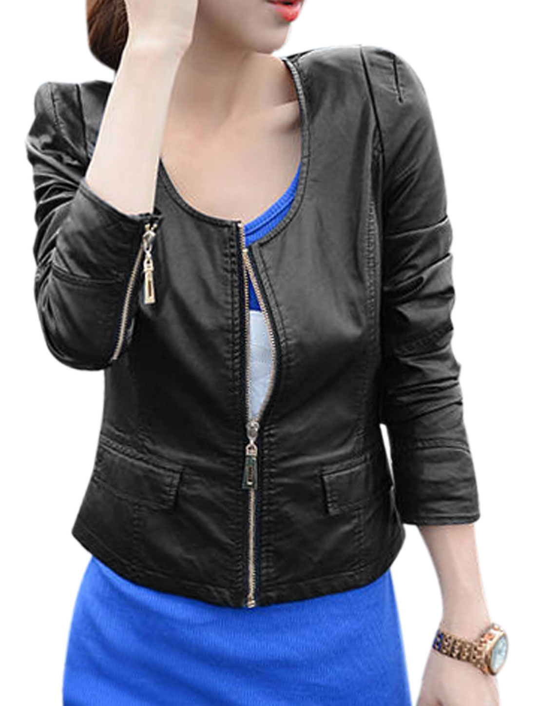 Lady Zip Up Two Flap Pockets Slim Fit Imitation Leather Jacket Black M