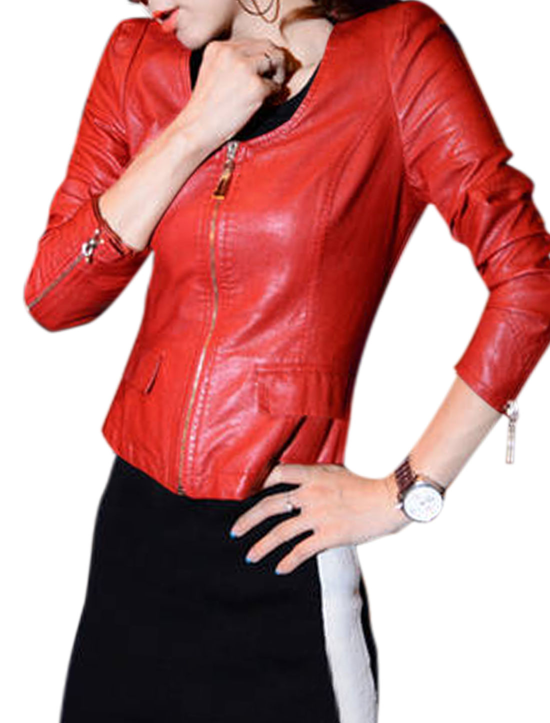 Lady Round Neck Zip Up Padded Shoulder Casual Imitation Leather Jacket Red M