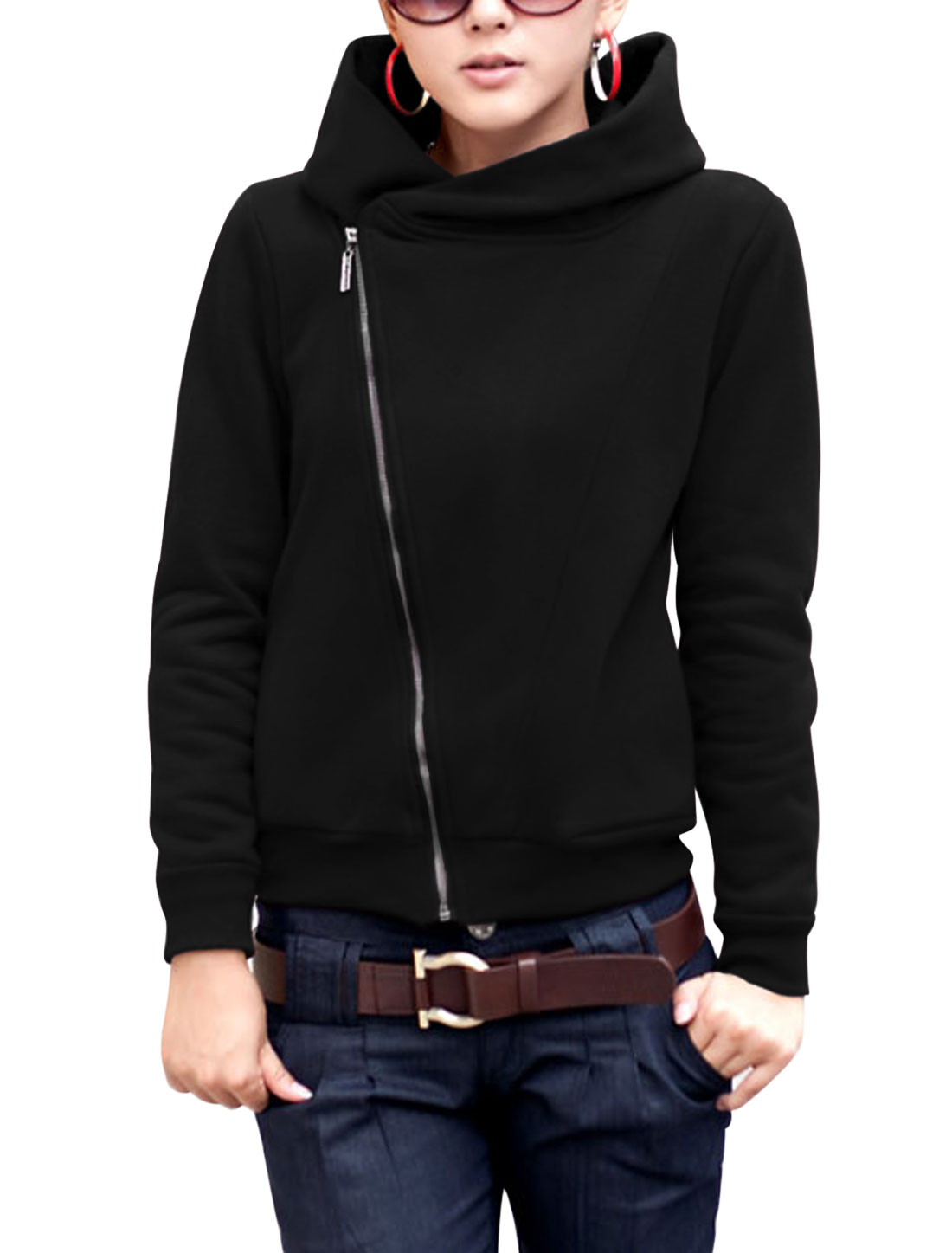 Lady Hooded Ribbed Trim Fashion Design Casual Sweatshirt Black S