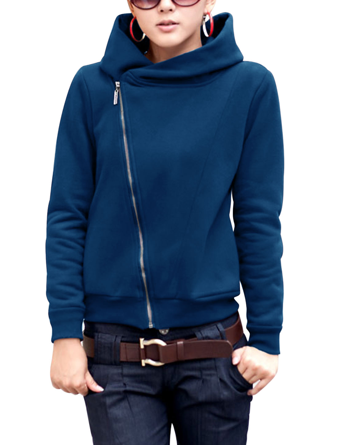 Lady Double Side Pockets Long Sleeve Stylish Sweatshirt Dark Blue S