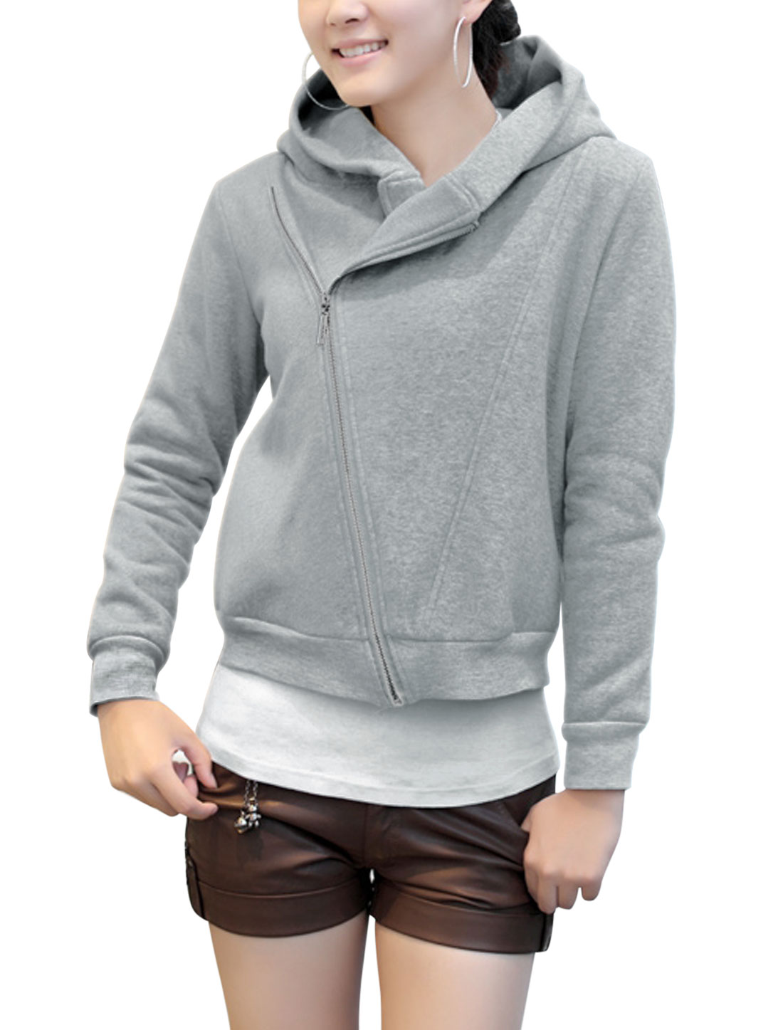Lady Inclined Zipper Long Sleeve Leisure Sweatshirt Light Gray S