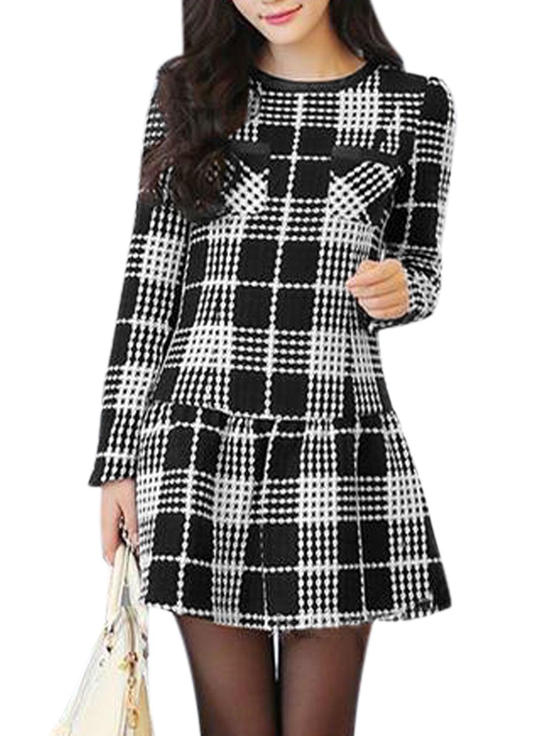 Lady Round Neck Long Sleeve Plaids Casual Tunic Dress Black White M
