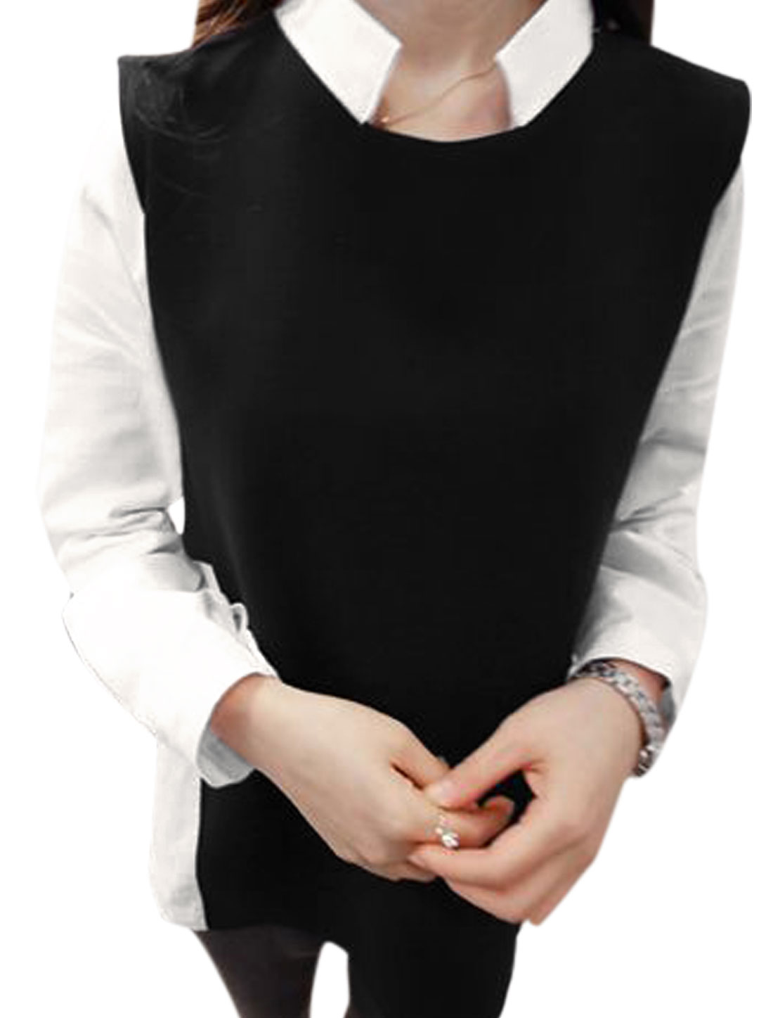 Lady Color Block One Button Closure Back Casual Shirt Black White M