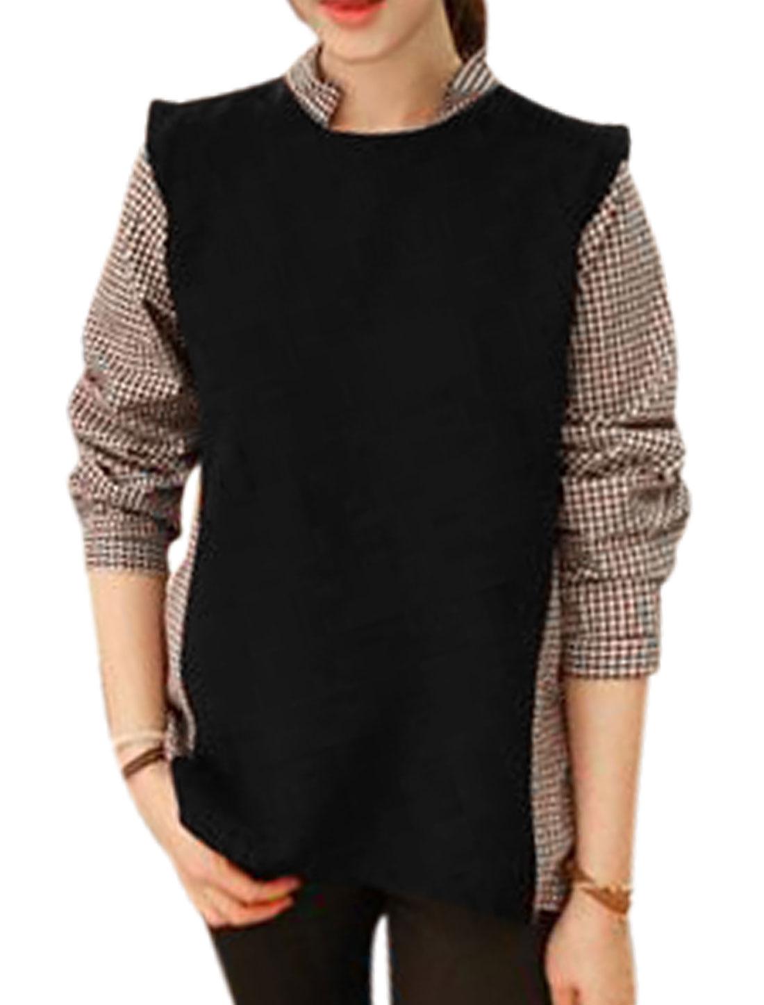 Lady Plaids Panel Doll Collar Fashion Cozy Fit Shirt Black Coffee M