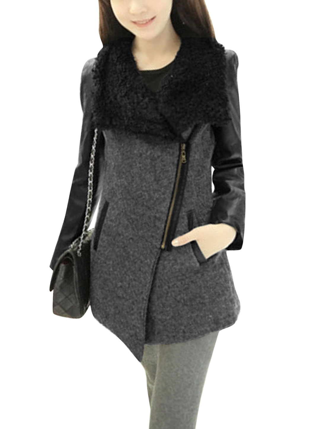 Ladies Dark Gray Turn Down Collar Inclined Zippered Front Splice Jacket XS