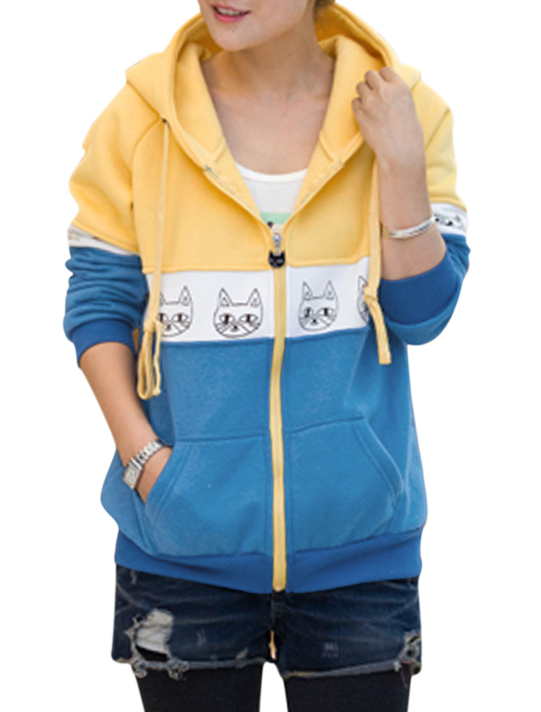 Lady Animal Pattern Color Blocking Long Sleeve Casual Sweatshirt Yellow Blue M