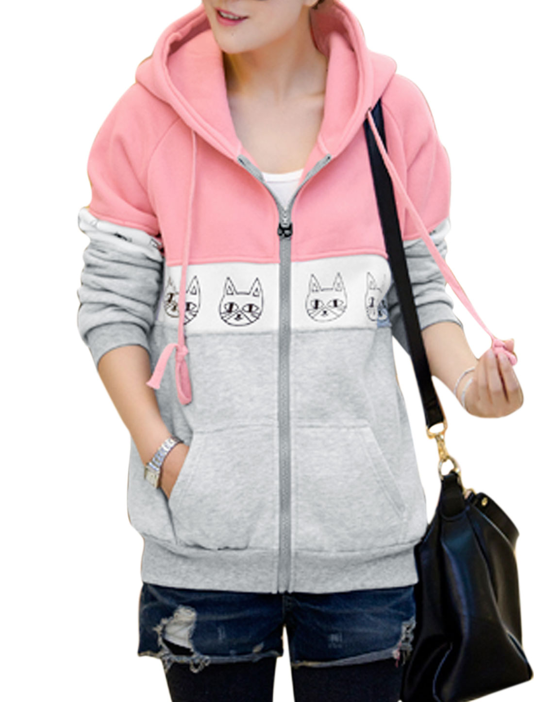 Lady Animal Pattern Color Blocked Ribbed Trim Leisure Sweatshirt Pink Gray M