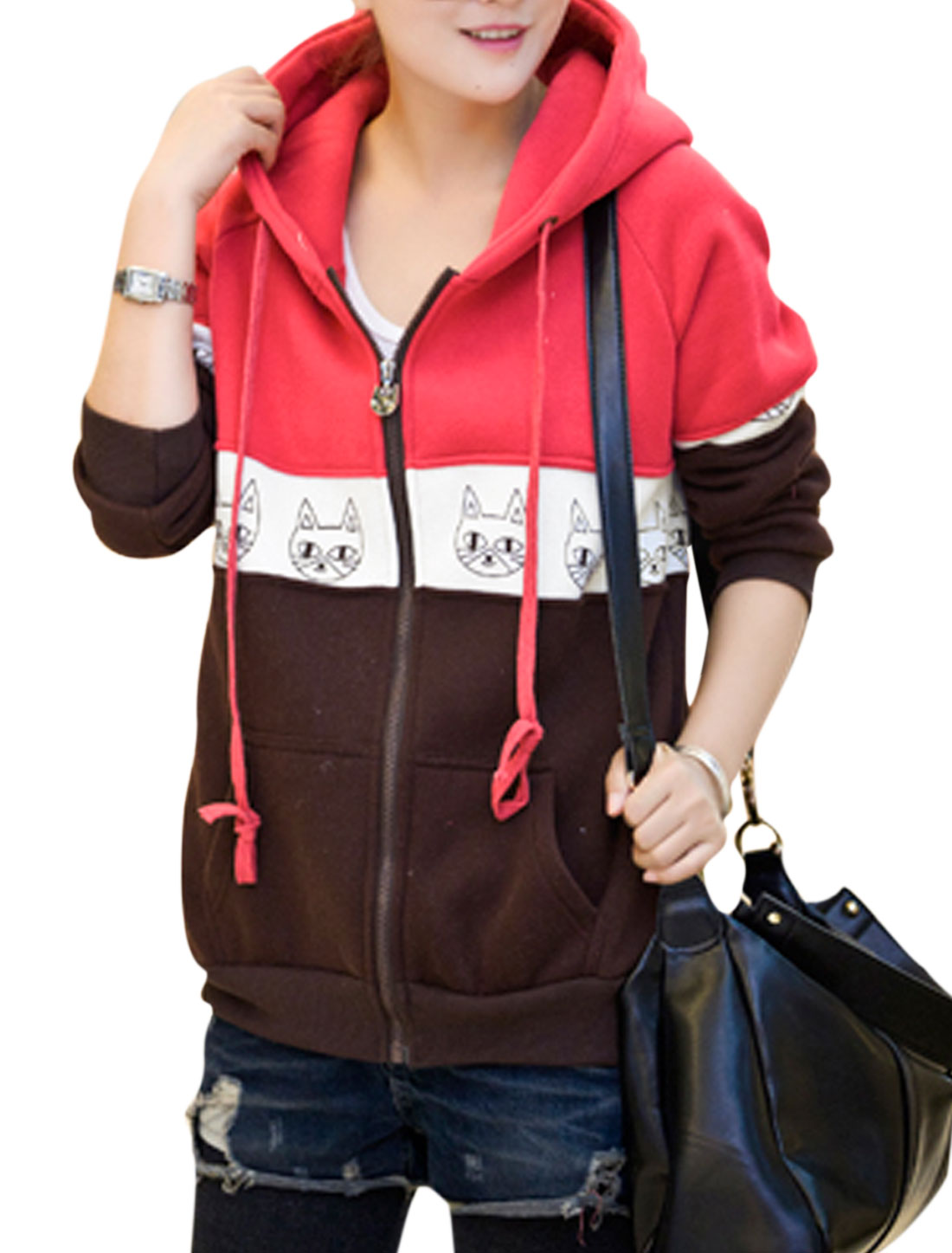 Lady Animal Pattern Contrast Color Hooded Fashion Sweatshirt Red Brown M