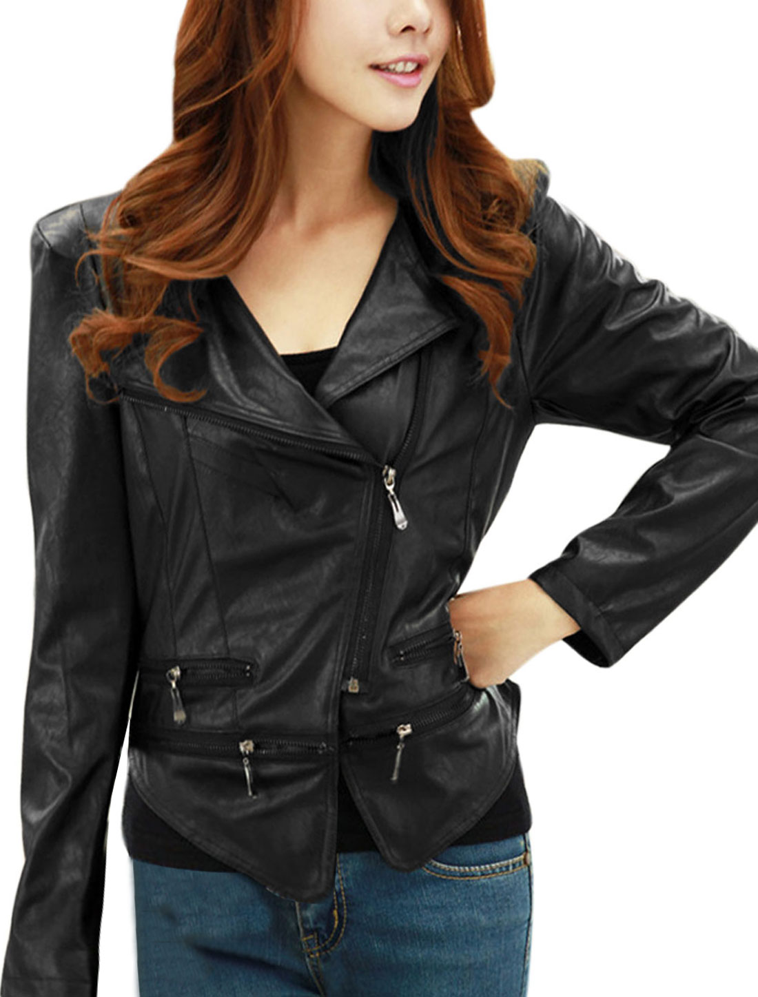 Lady Zip Up Convertible Collar Slim Imitation Leather Jacket Black M