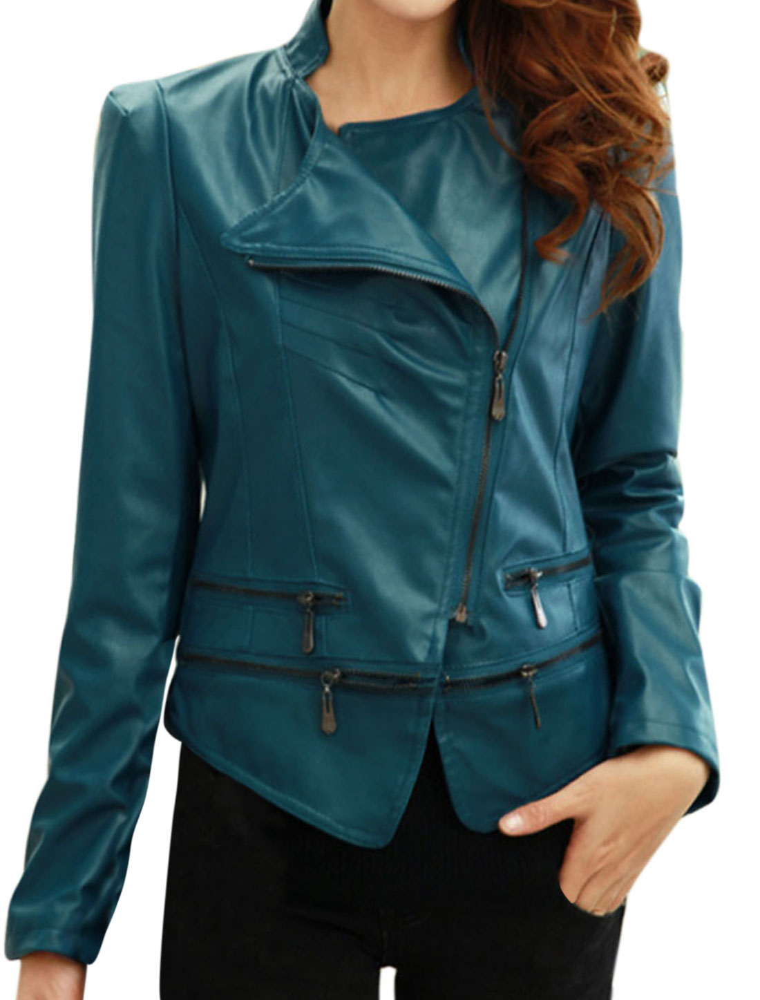Slim Fit Casual Zipper Decor Imitation Leather Jacket for Lady Turquoise M