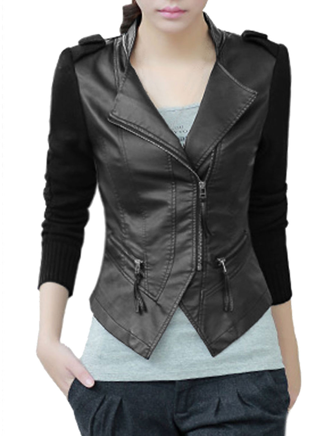 Women Zippers Decor Asymmetric Hem Imitation Leather Jacket Black L