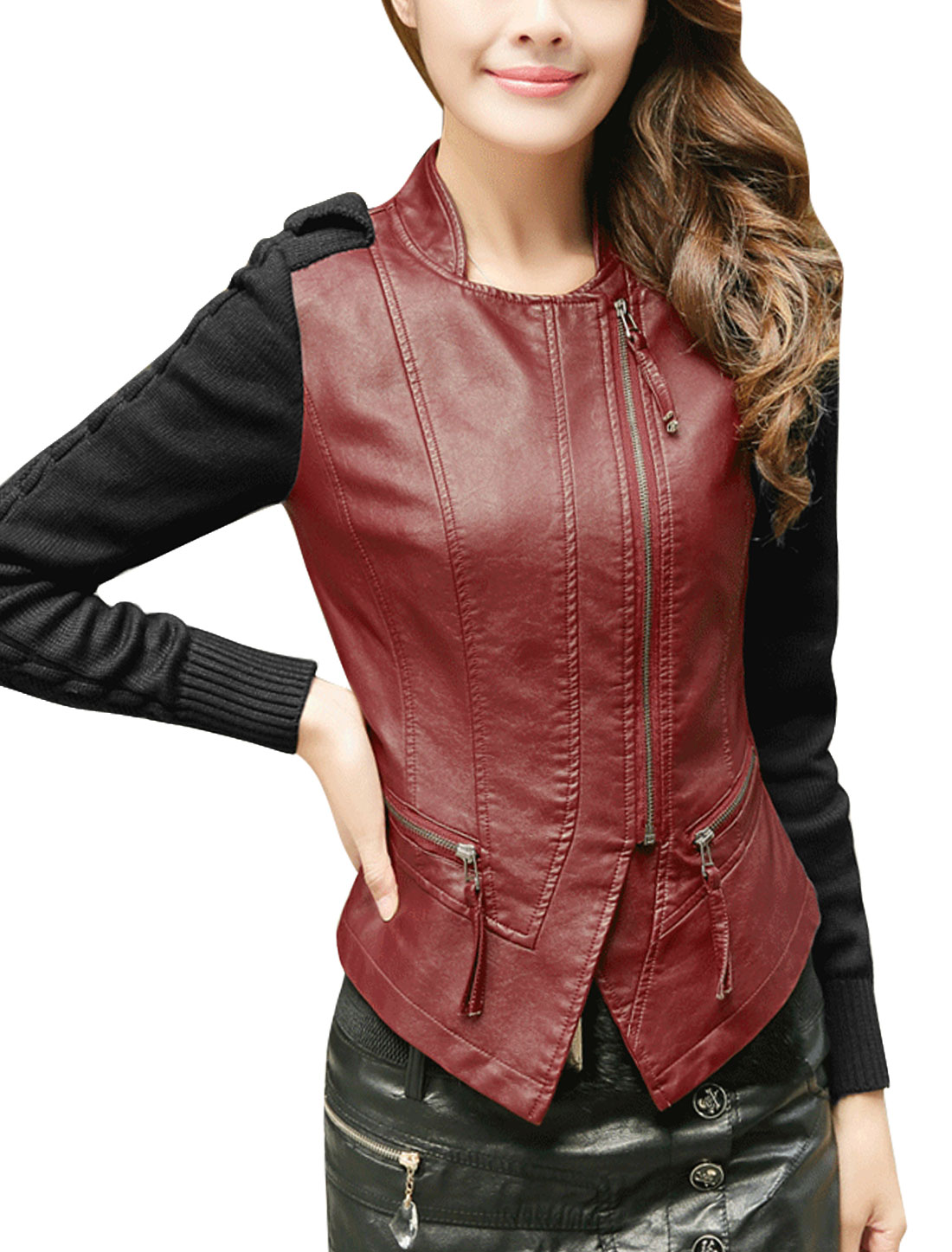 Women Spliced Zipper Closure Imitation Leather Jacket Burgundy L
