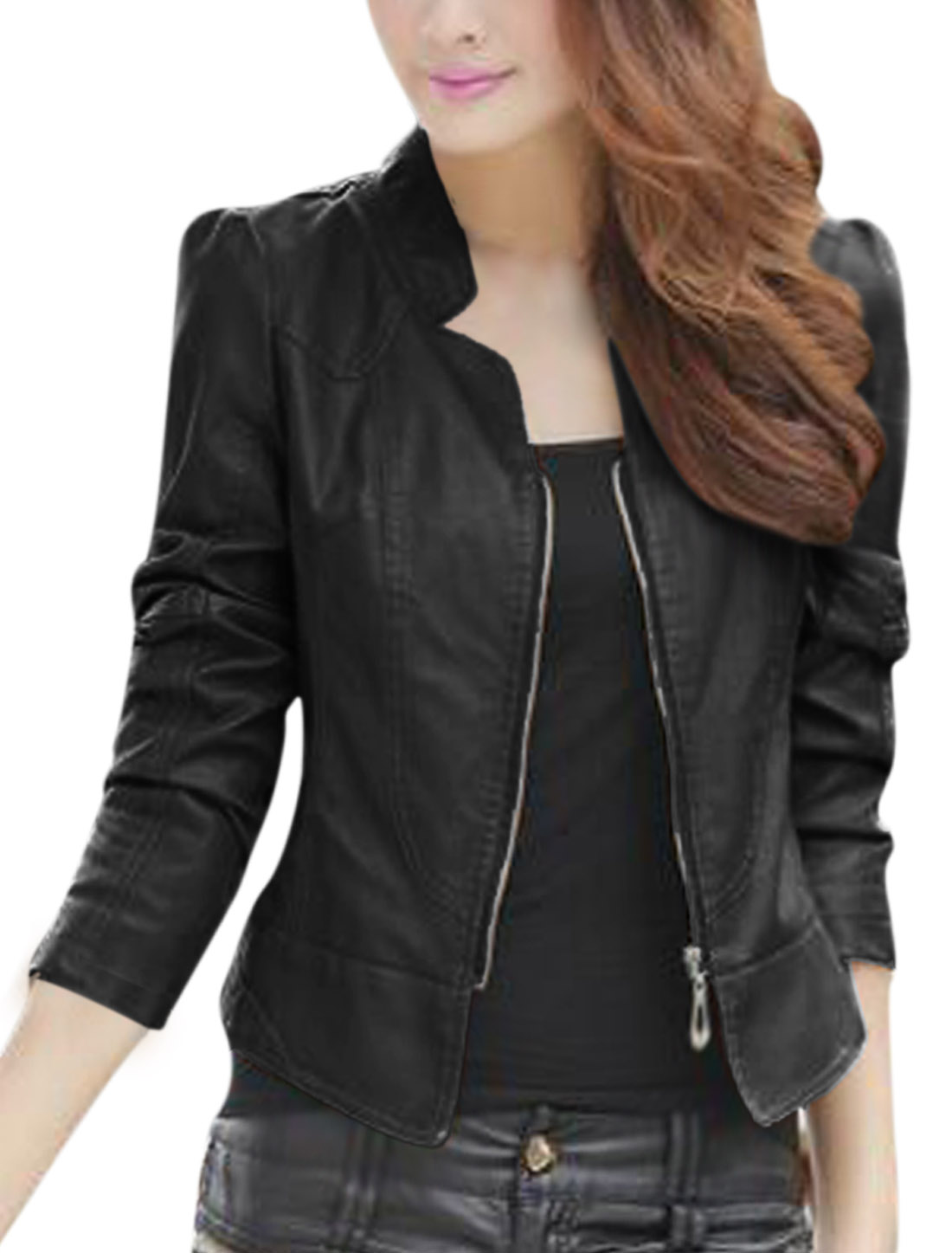 Lady Stand Collar Long Sleeve Stylish Imitation Leather Jacket Black M