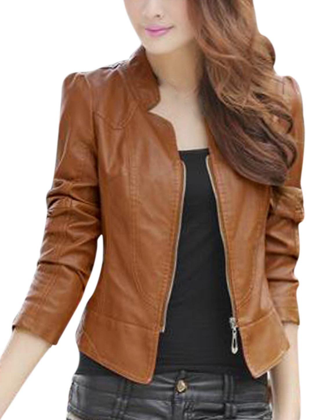 Lady Zip Closure Bolero Fashion Design Imitation Leather Jacket Camel L