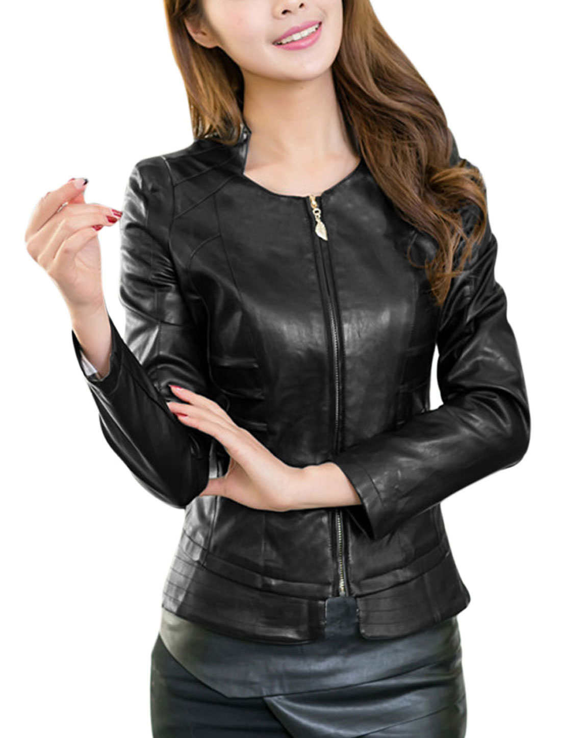 Ladies Stand Collar Long Sleeve Fashion Design Imitation Leather Jacket Black L