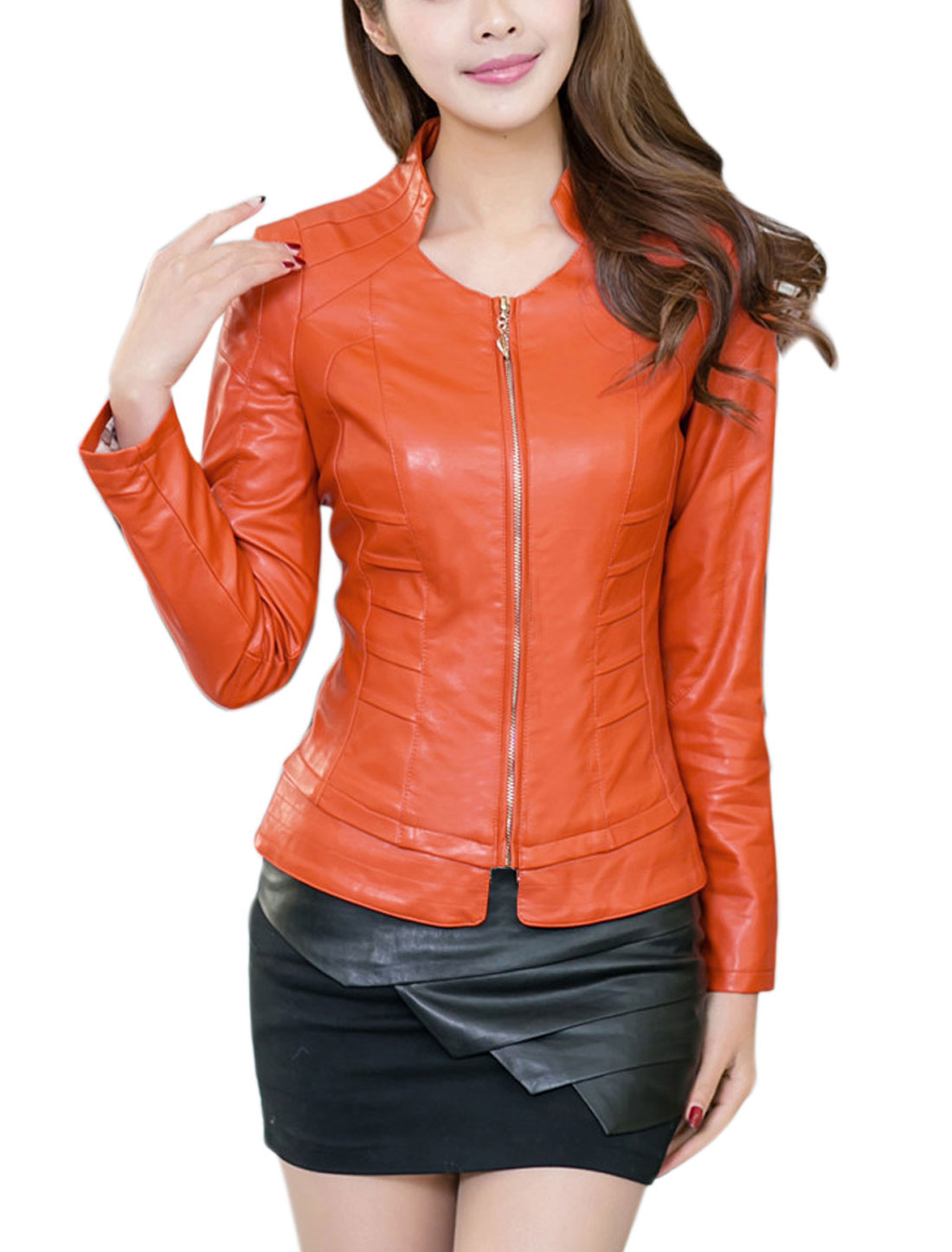 Lady Stand Collar Long-sleeved Stylish Design Imitation Leather Jacket Orange L