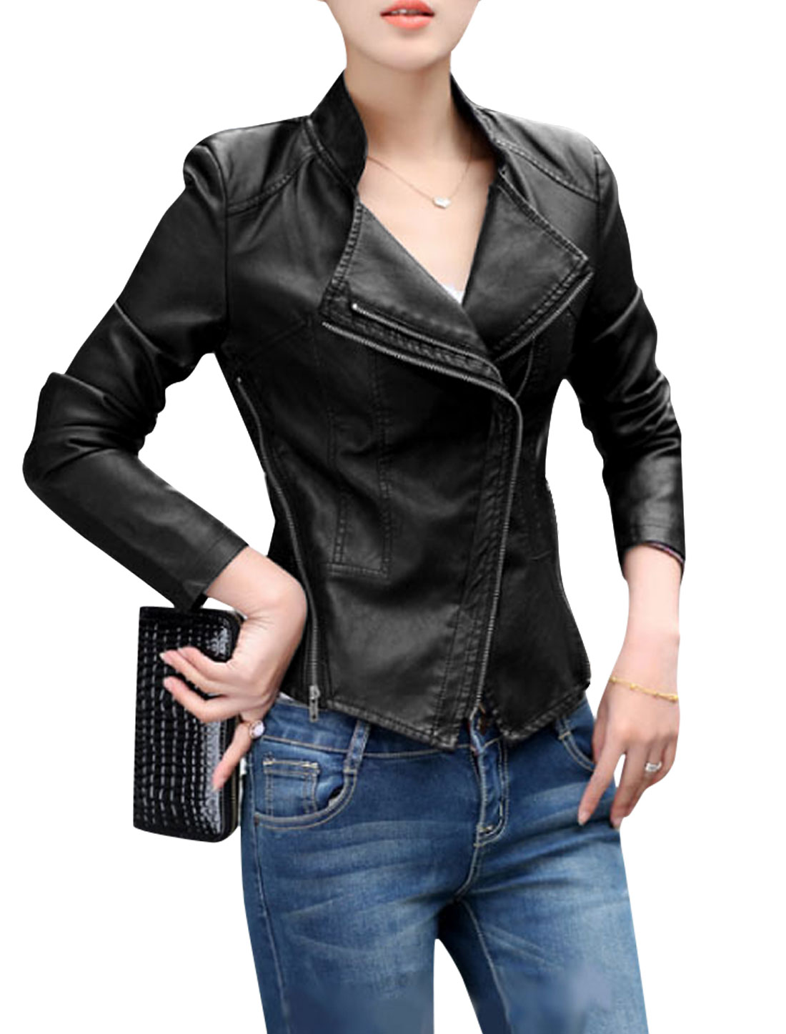 Women Double Zip Up Zippers Decor Slim Imitation Leather Jacket Black M