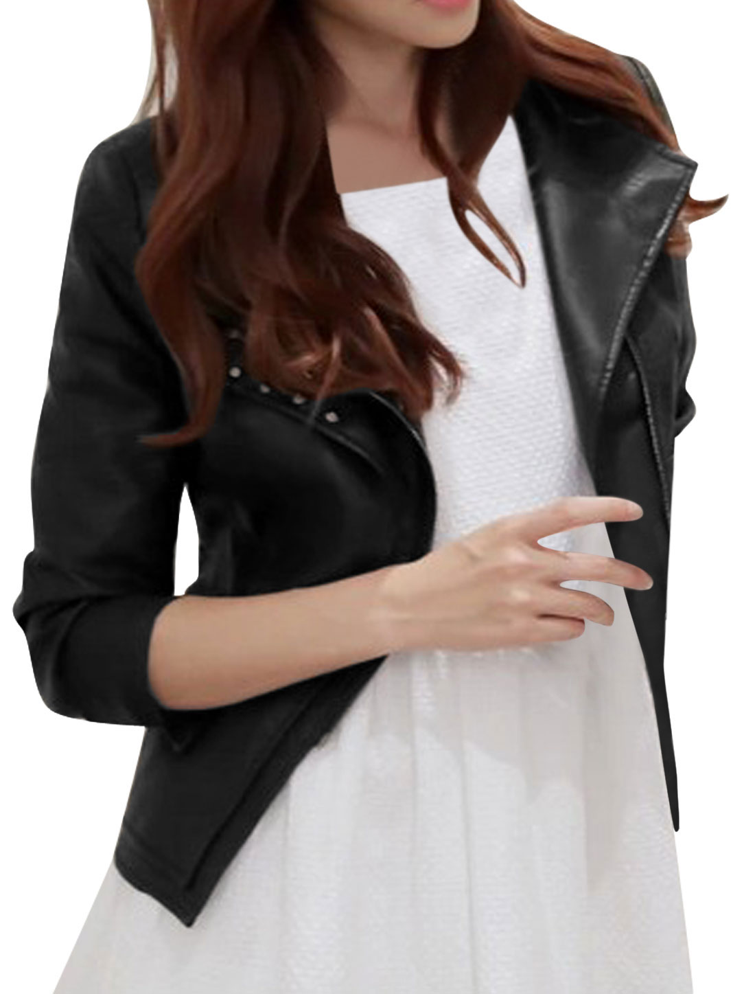 Women Gun Flap Collar Detail Studs Decor Imitation Leather Jacket Black M