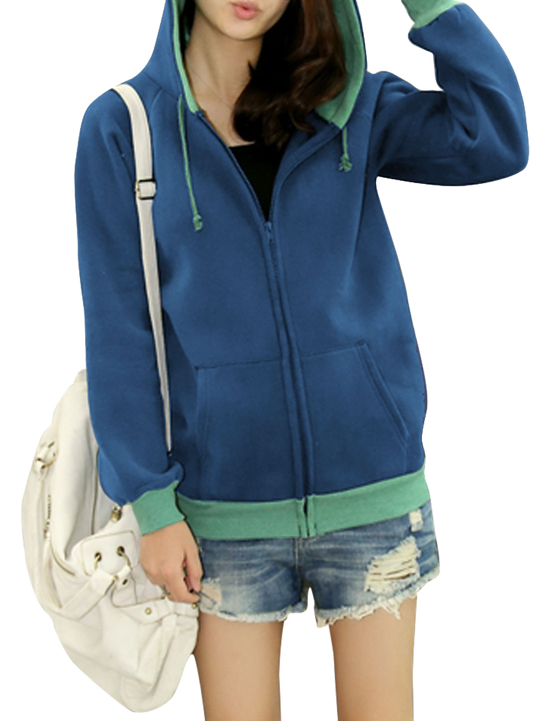 Ladies Dark Blue Long Sleeves Zippered Front Kangaroo Pockets Casual Hoodie S