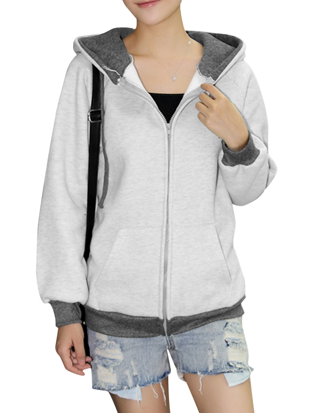 Ladies Light Gray Long Sleeves Zip Fly Kangaroo Pockets Hoodie S