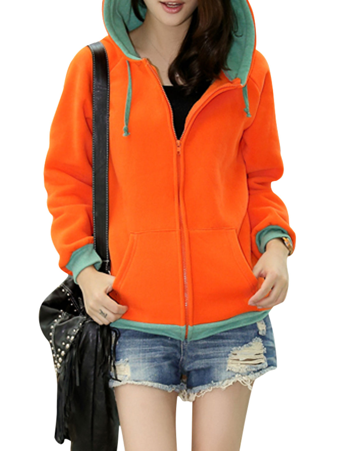 Ladies Orange Full Sleeves Zippered Front Ribbed Cuffs Hoodie S