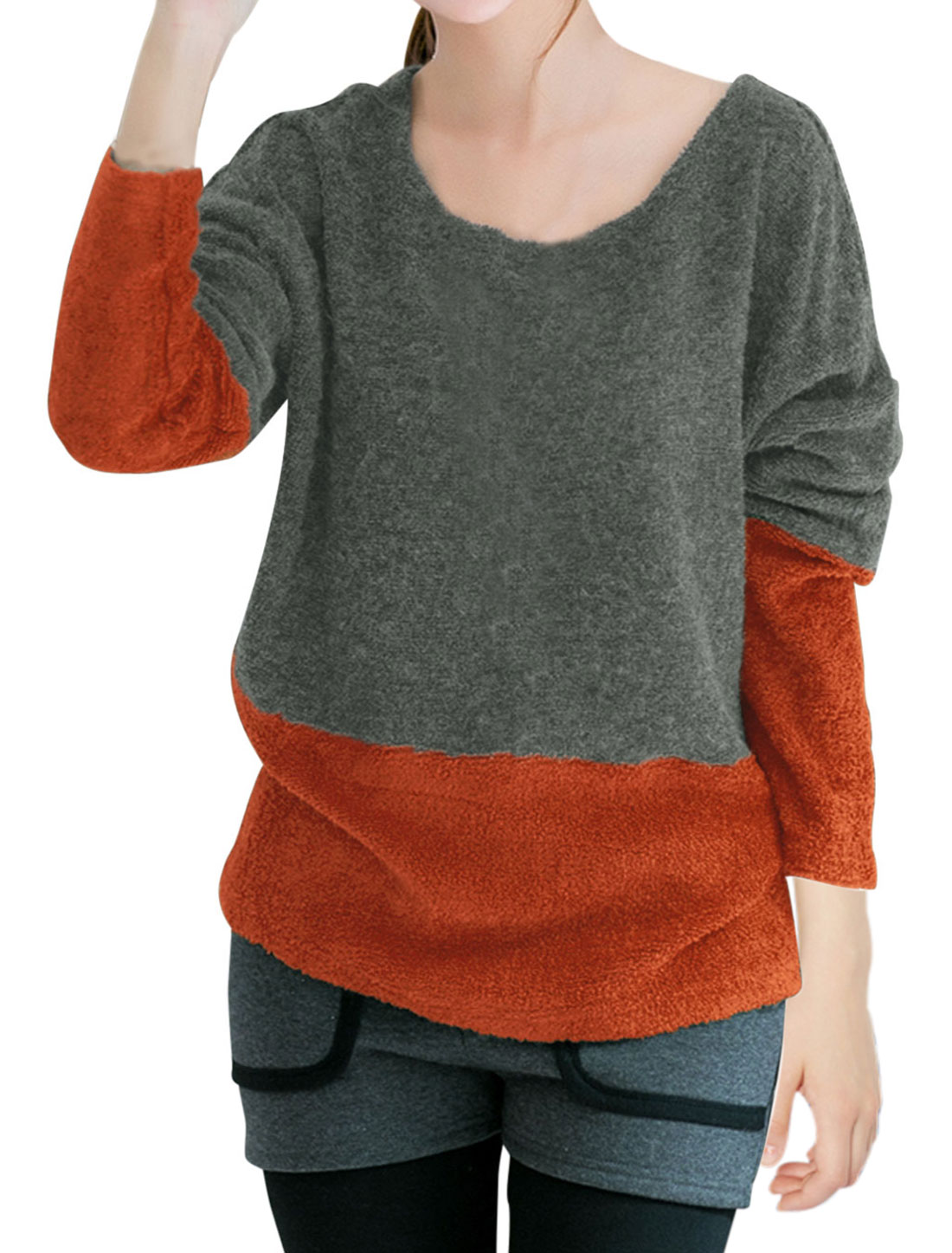 Lady Pullover Bat Sleeve Leisure Knit Shirt Orange Gray M