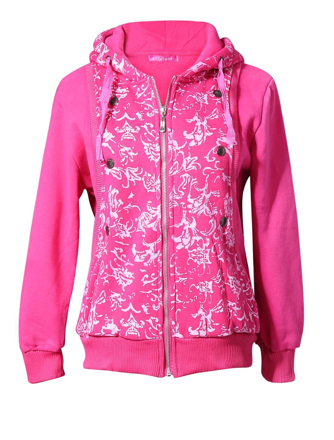 Lady Drawcord Hood Buttons Decor Layered Design Leisure Hoodie Fuchsia M
