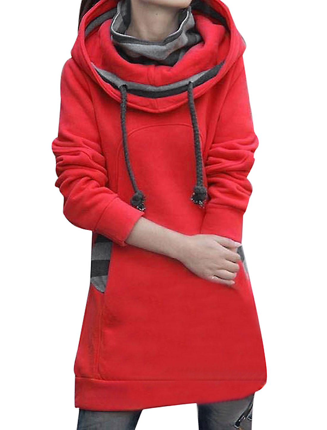 Women Drawstring Hooded Layered Tunic Sweatshirt Red M