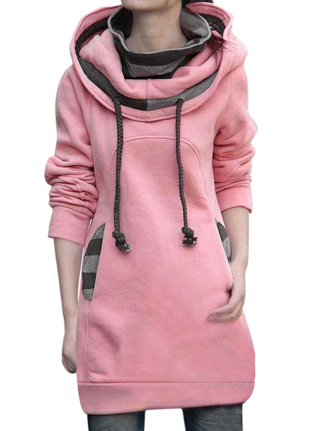 Women Drawstring Hooded Layered Tunic Sweatshirt Pink M